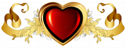 Large Red Heart with Gold Banner Element Clipart | HEARTS & BOXES ...