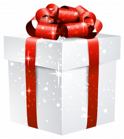 White Shining Gift Box with Red Bow PNG Clipart Image | Gallery ...