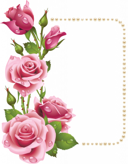 Large Transparent Frame with Pink Roses and Pearls | Цветы ...