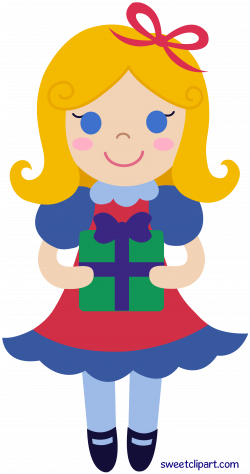 Christmas Girl With Gift Clipart - Sweet Clip Art