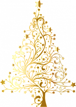 Clipart - Starry Christmas Tree Gold No Background