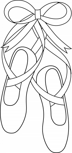 Ballet Slippers Line Art - Free Clip Art
