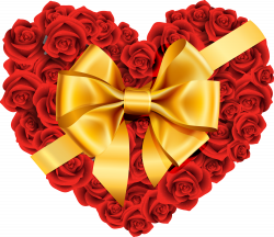 Large Rose Heart with Gold Bow PNG Clipart | 121 ღ✿❤♥❤✿ღ ...