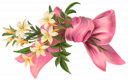 Pink Bow with Flowers PNG Element | Gallery Yopriceville - High ...