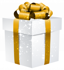 White Shining Gift Box with Gold Bow PNG Clipart Image   Gallery ...