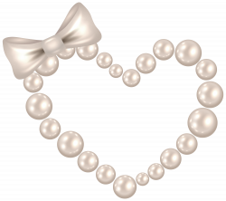 Pearl Heart with Bow Transparent PNG Clip Art Image   CLIPART AND ...