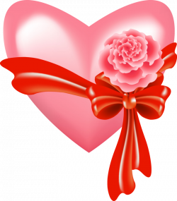 PINK HEART WITH ROSE AND BOW   Serca   Pinterest   Clip art ...