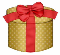 Yellow Round Gift Box with Red Bow PNG Clipart | Fonts and ...