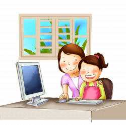 Computer Child Computer file - Mom teach children to play on the ...