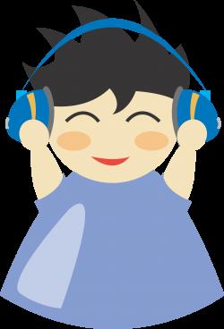 Clipart - Boy with headphone5