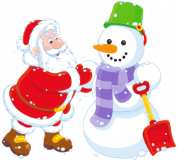 Transparent Santa and Snowman PNG Clipart | сніговики .санта ...