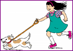 Fascinating Clipart Walking Dog For Cartoon Girl Style And Gif ...