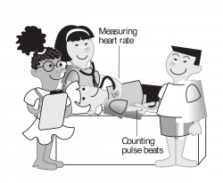 Clipart - Kids measuring heart rate