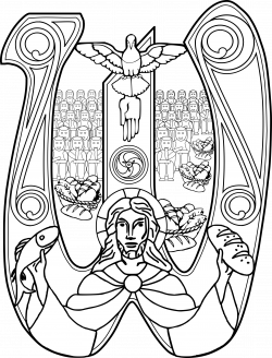 Clipart - Christ with a Fish and Bread Symbol