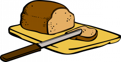 Clipart - Bread with knife on cutting board