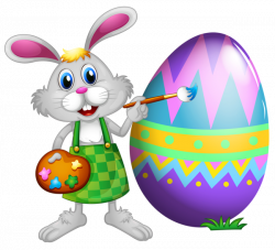 Easter Bunny and Colored Egg PNG Clipart Picture | Easter ...