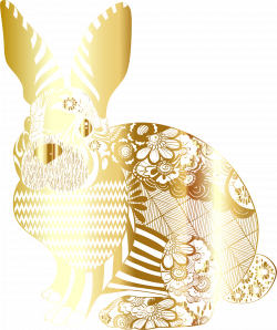Clipart - Gold Floral Rabbit No Background