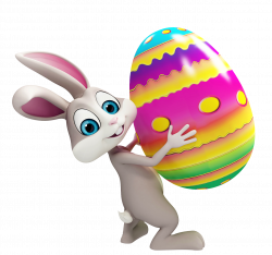 Easter Bunny with Colorful Egg Transparent PNG Clipart | Craft Ideas ...