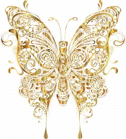 Clipart - Abstract Butterfly II Gold