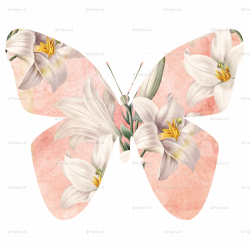 Peach Butterfly with Lilies fabric - peacefuldreams - Spoonflower