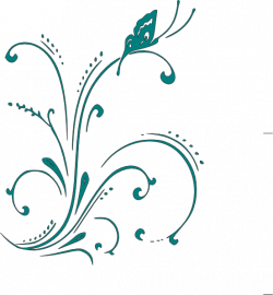 Teal Butterfly Scroll Clip Art at Clker.com - vector clip art online ...