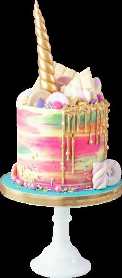 birthday cake unicorn rainbow watercolor gold...