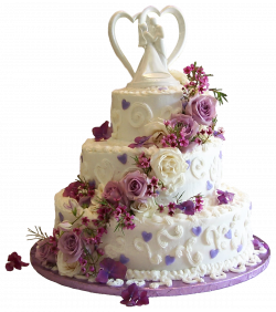 White Wedding Cake with Purple Roses PNG Clipart | Gallery ...