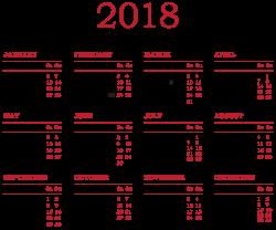 2018 Calendar Transparent PNG Clip Art | Gallery Yopriceville ...
