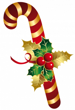 Golden and Red Christmas Candy Cane PNG Clipart | Gallery ...