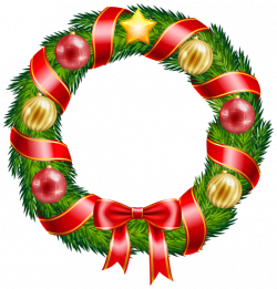 Christmas Wreath with Ornaments and Red Bow Clipart PNG Image | New ...