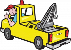 Illustration of a tow truck wrecker with driver thumb up on isolated ...