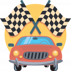 Clipart - Car And Racing Flags Icon