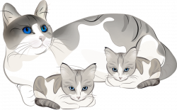 Cat clipart mother and baby - Pencil and in color cat clipart mother ...