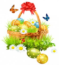 Easter Basket with Eggsand Butterflies PNG Clipart Picture | Пасха ...