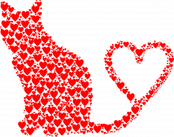 Clipart - Cat 2 Silhouette Heart Tail Hearts