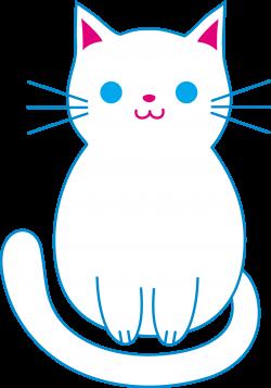 Cute White Cat - Free Clip Art