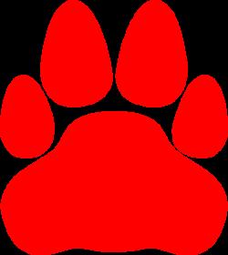 Red Cat Paw Print Clip Art at Clker.com - vector clip art online ...