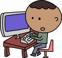 Clipart - African Man and Computer