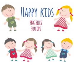 Happy Smile Kids Clipart / Children Clip Art / Boy and Girl /