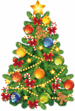 Large Transparent Christmas Tree with Gingerbread Ornament Clipart ...