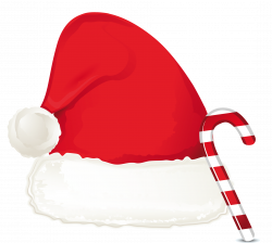 Christmas Candy Cane Ornament And Santa Hat PNG Clipart