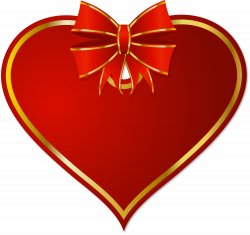 Red PNG Heart with Red Bow Clipart | Gallery Yopriceville - High ...