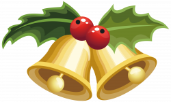 Christmas Bells with Mistletoe PNG Clipart Image   Gallery ...