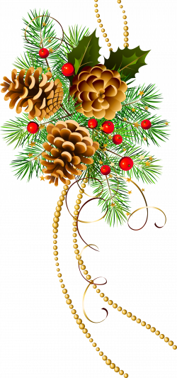 Three Christmas Cones with Pine Branch Clipart | Gallery ...