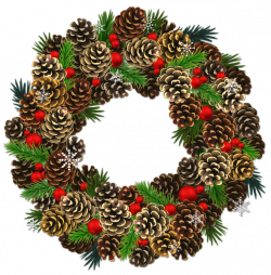 Transparent Christmas Pinecone Wreath PNG Clipart | watercolor ...