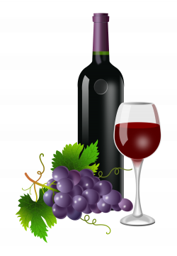 Purple grapes, wine bottle, and wine glass 2000x2891 | Clipart ...