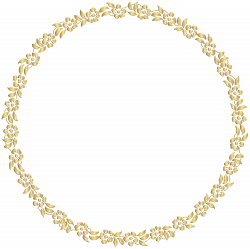 Golden Round Floral Border Transparent Clip Art Image | Gallery ...