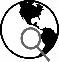 Simple Black And White Earth With Magnifying Glass Clip Art at Clker ...