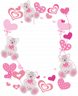 Transparent Hearts PNG Photo Frame with Teddy Bears | cards ...