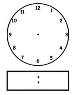 Blackline/Clip Art Clock Template - Analog and Digital ...